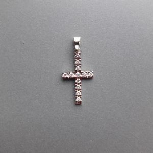 14k witgouden kruis met diamanten