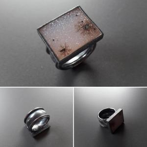 Geoxideerde zilveren ring met drusy rozenkwarts (2)